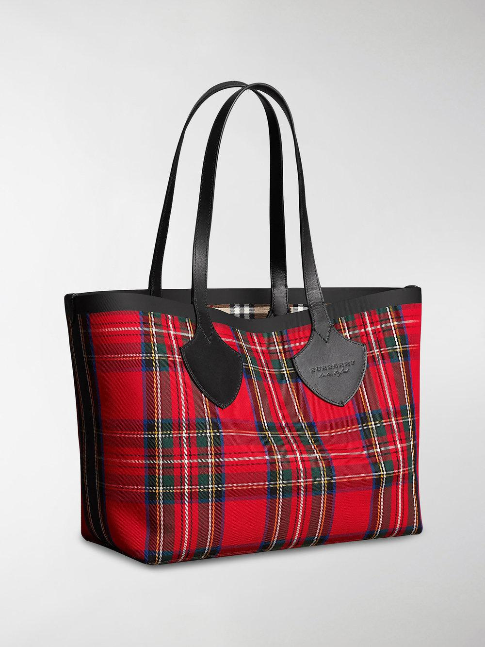 Burberry - Red Reversible Vintage Check Tote Bag - Lyst. View fullscreen 685d81d26c