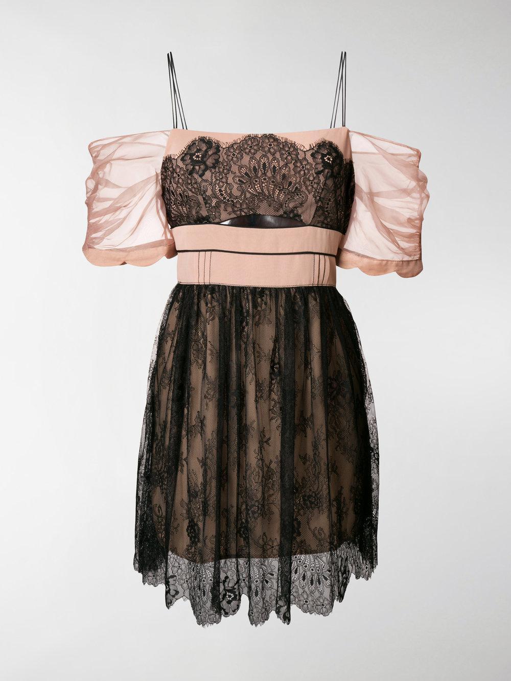 cut-out detail lace mini dress - Black Self Portrait HXWlaIE