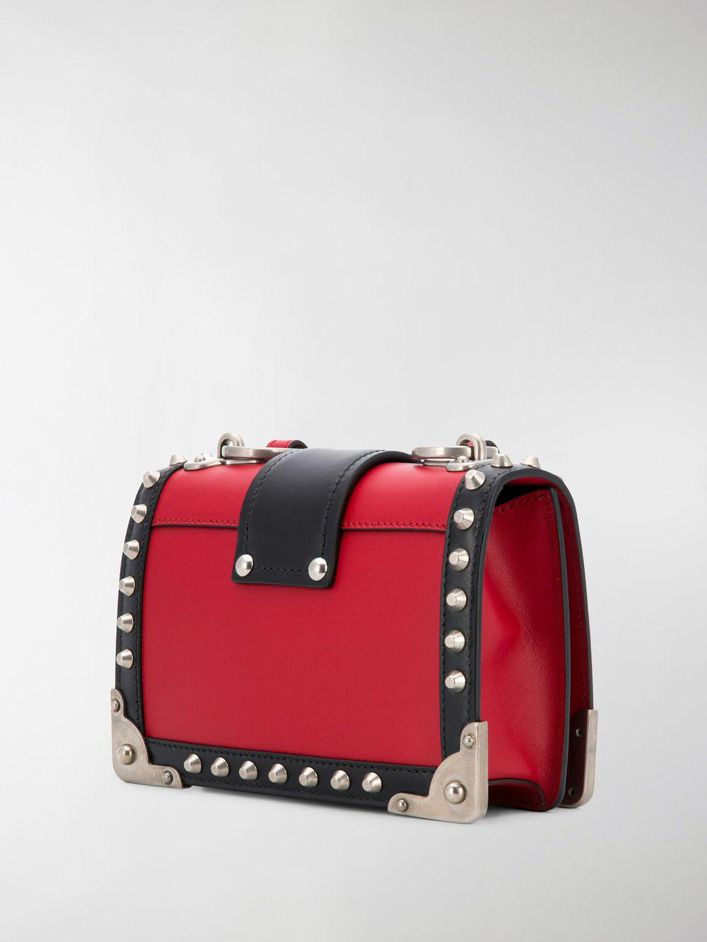 Prada Small Cahier Studs City Crossbody Bag in Red