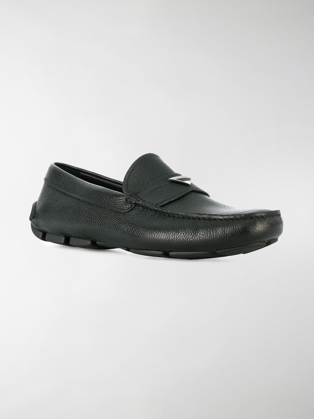 logo plaque driving shoes - Black Prada losnVdijNW