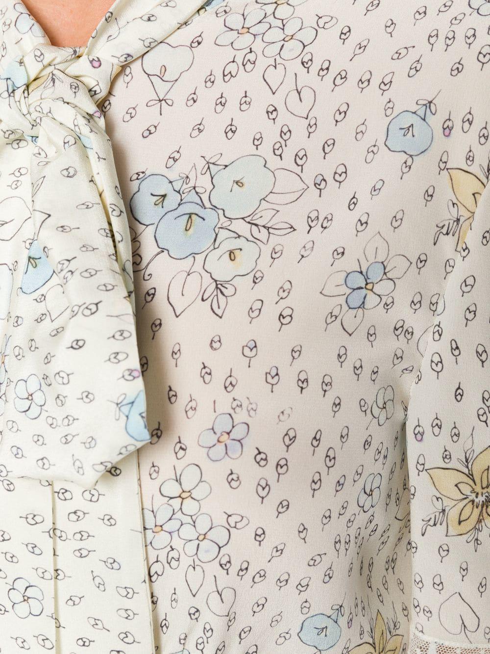4d4ed0f0ca5 Miu Miu Silk Printed Pussybow Midi Dress - Lyst