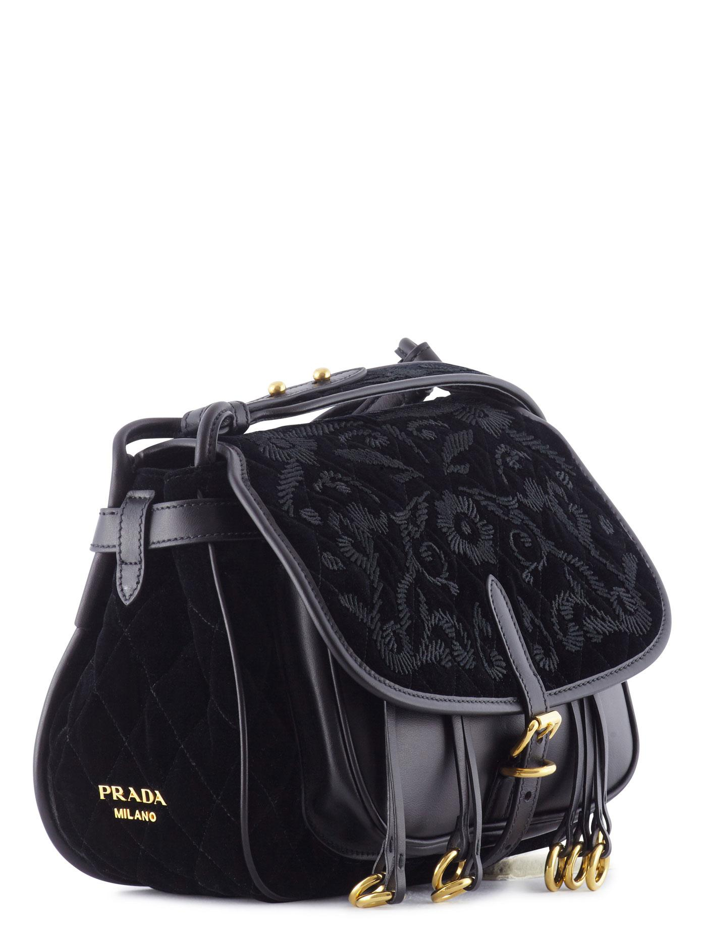 f3451d645c13e2 Prada Corsaire Embroidered Velvet And Leather in Black - Lyst