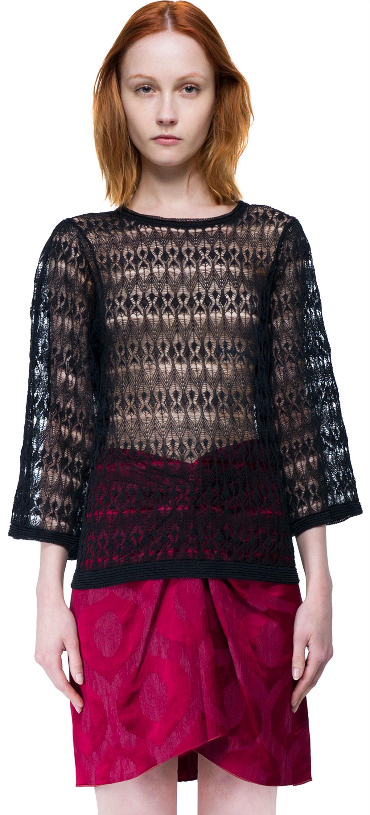 isabel marant lace sweater in floral black plain lyst. Black Bedroom Furniture Sets. Home Design Ideas