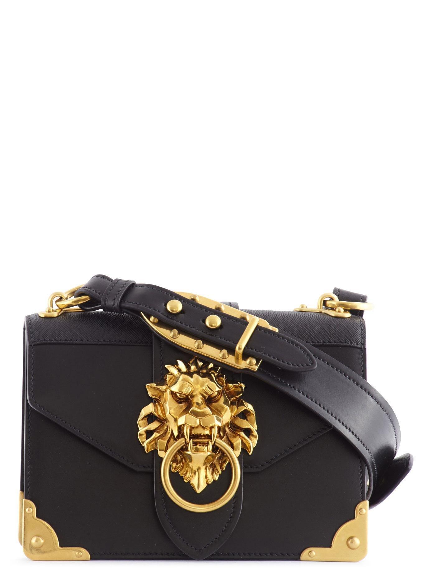 Louis Vuitton Denim Bag >> Lyst - Prada Cahier Lion Head Leather Bag in Black