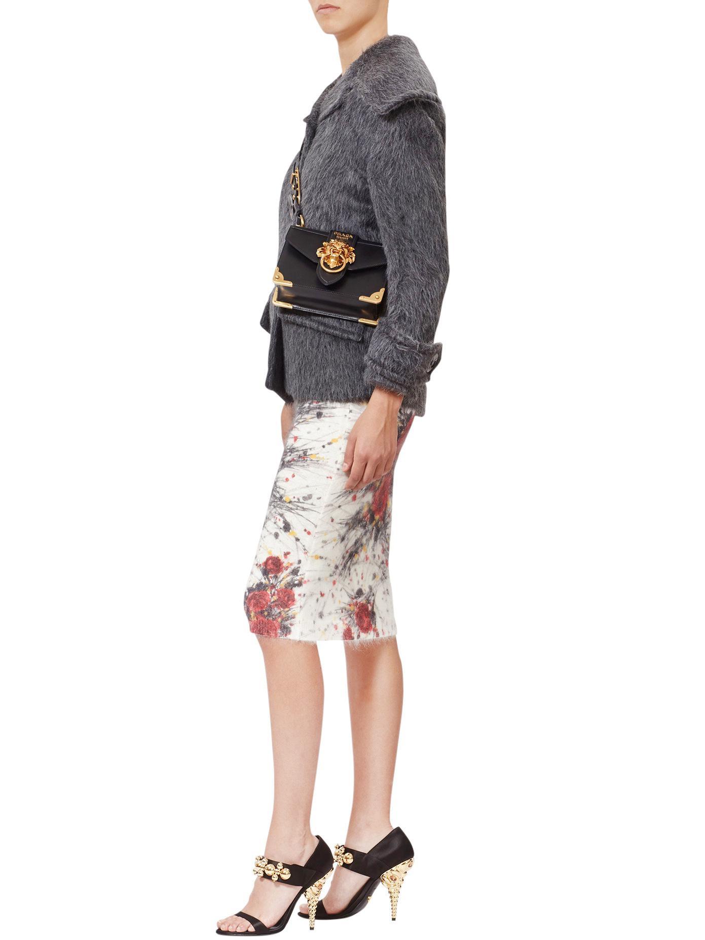 Prada Cahier Lion Head Leather Bag in Black