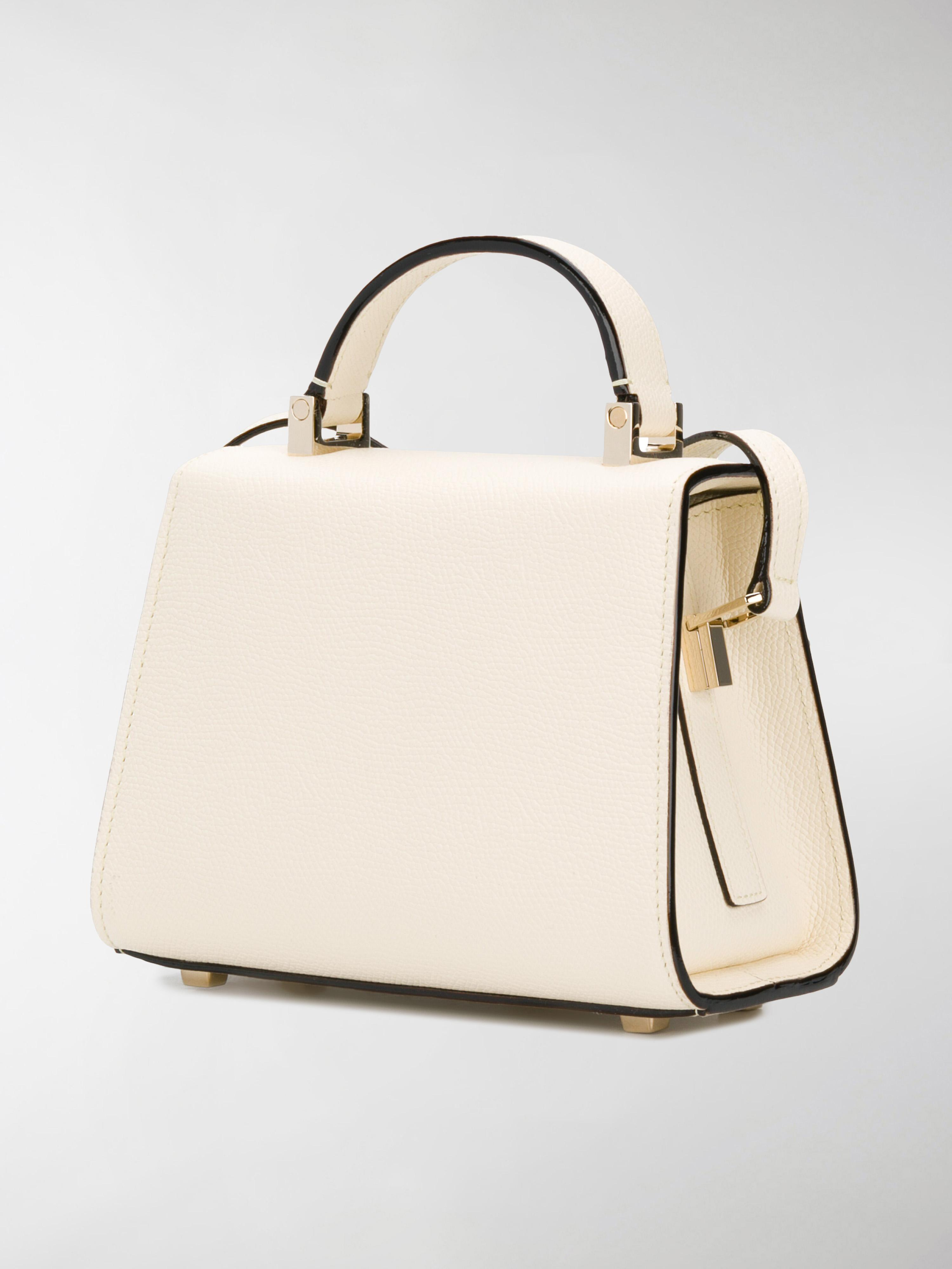 Valextra Leather Micro Iside Tote in Natural