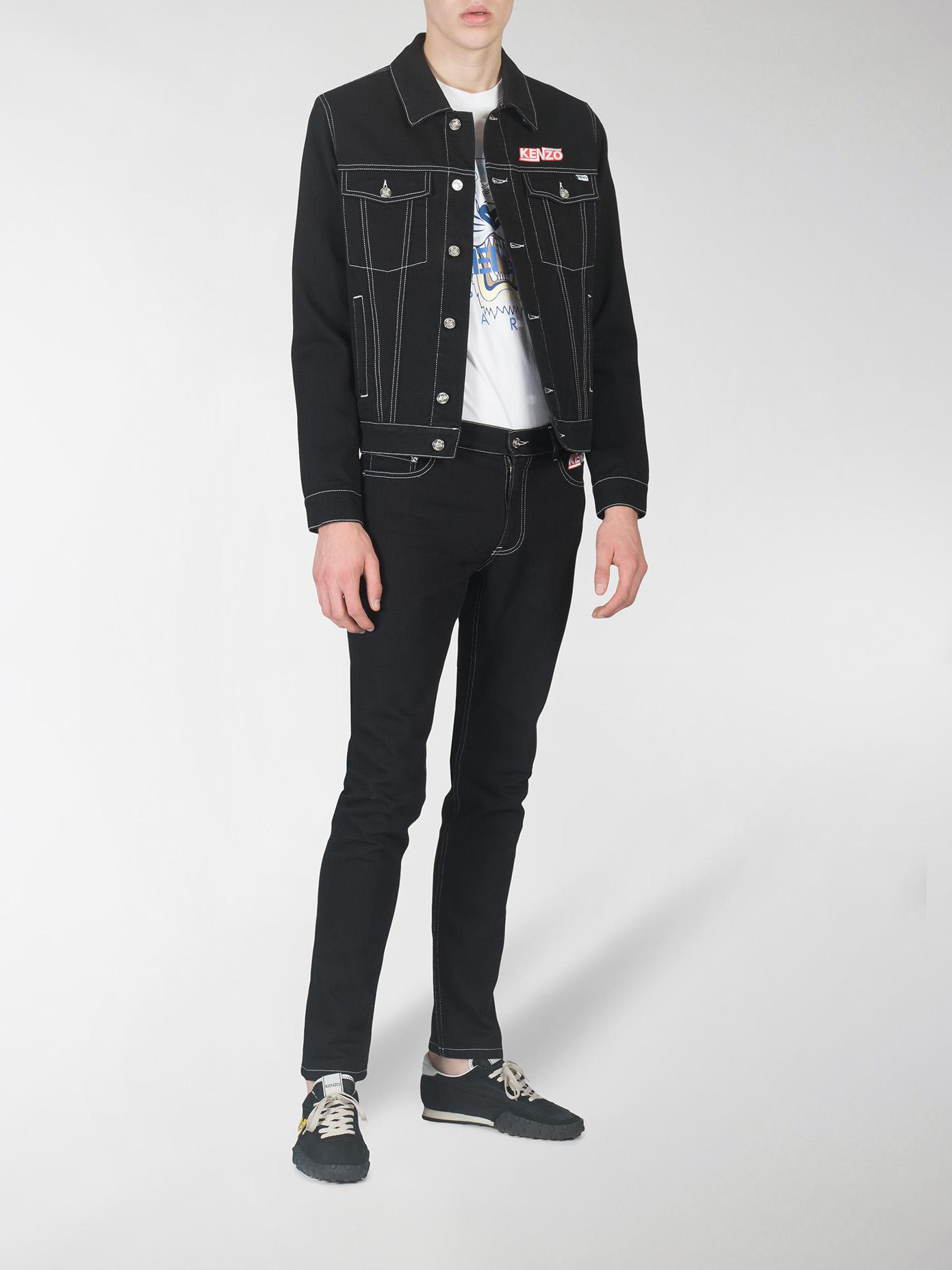 KENZO Denim Jacket With Stitching in Black for Men