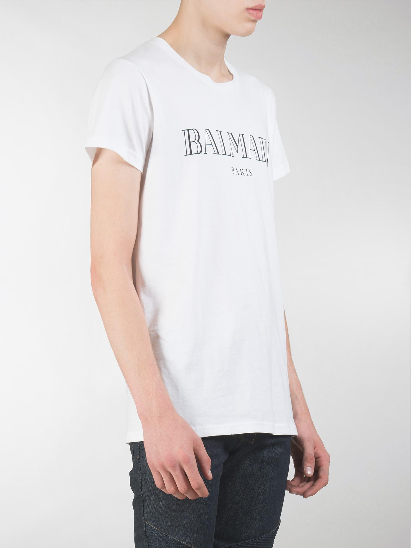 Lyst balmain tshirt blanc print paris noir in white for men for Balmain white logo t shirt