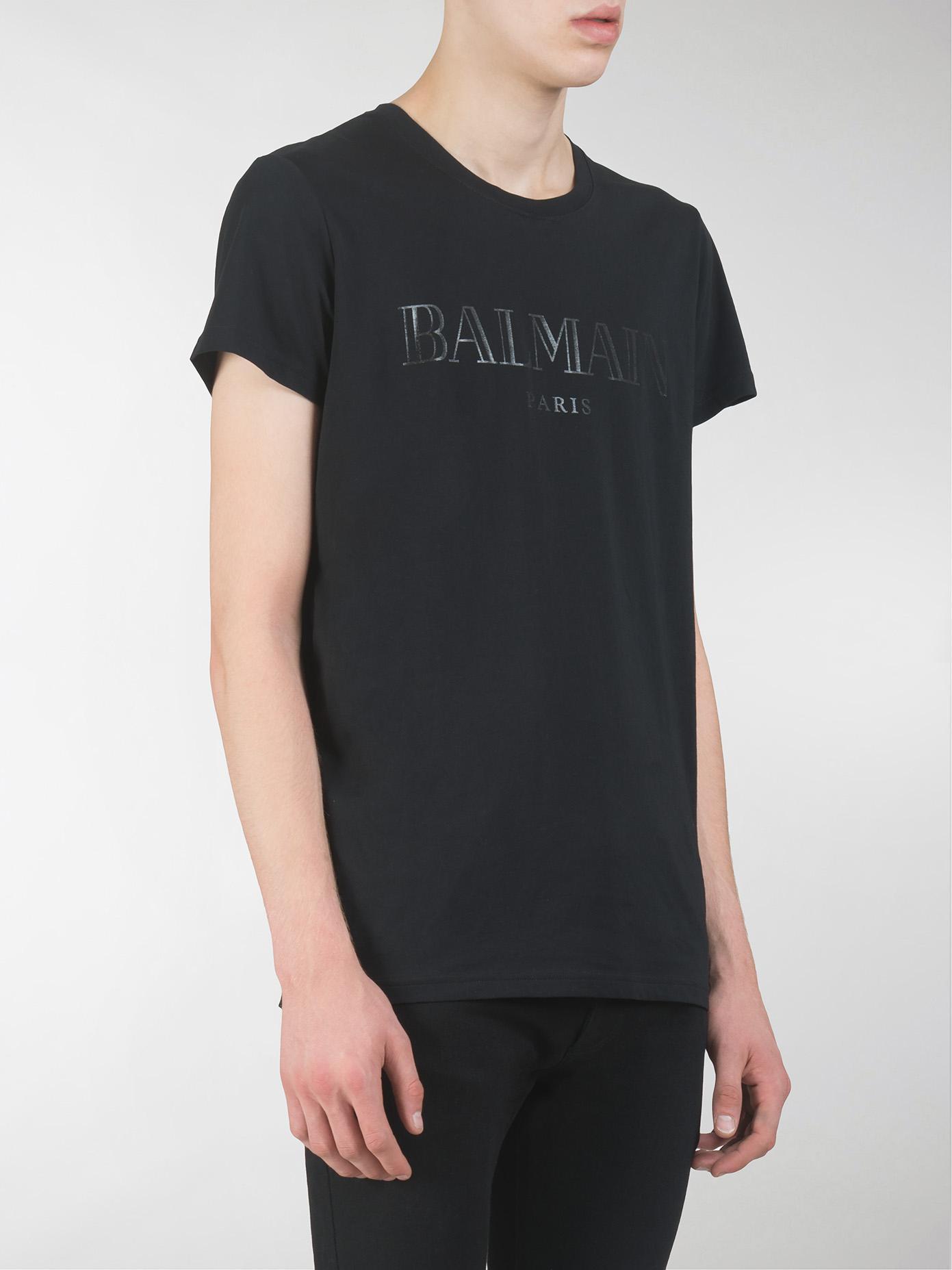 lyst balmain tshirt blanc print paris noir in black for men. Black Bedroom Furniture Sets. Home Design Ideas