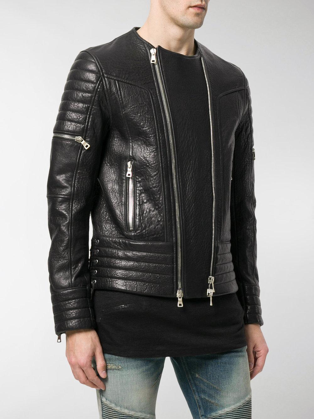 Balmain Cotton Zipped Biker Jacket in Black for Men