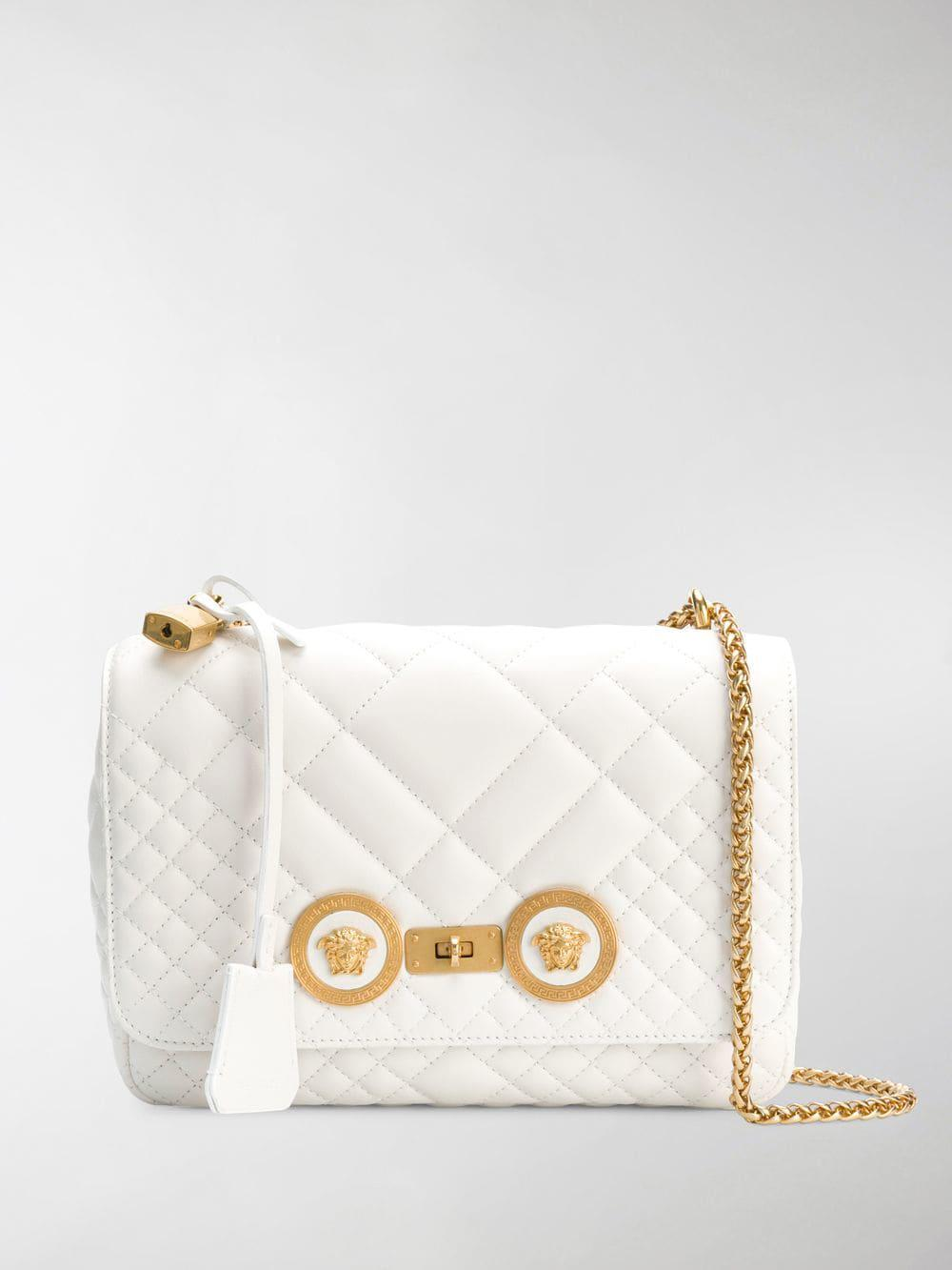 7d67422d663f Lyst - Versace White Quilted Chain Shoulder Bag in White