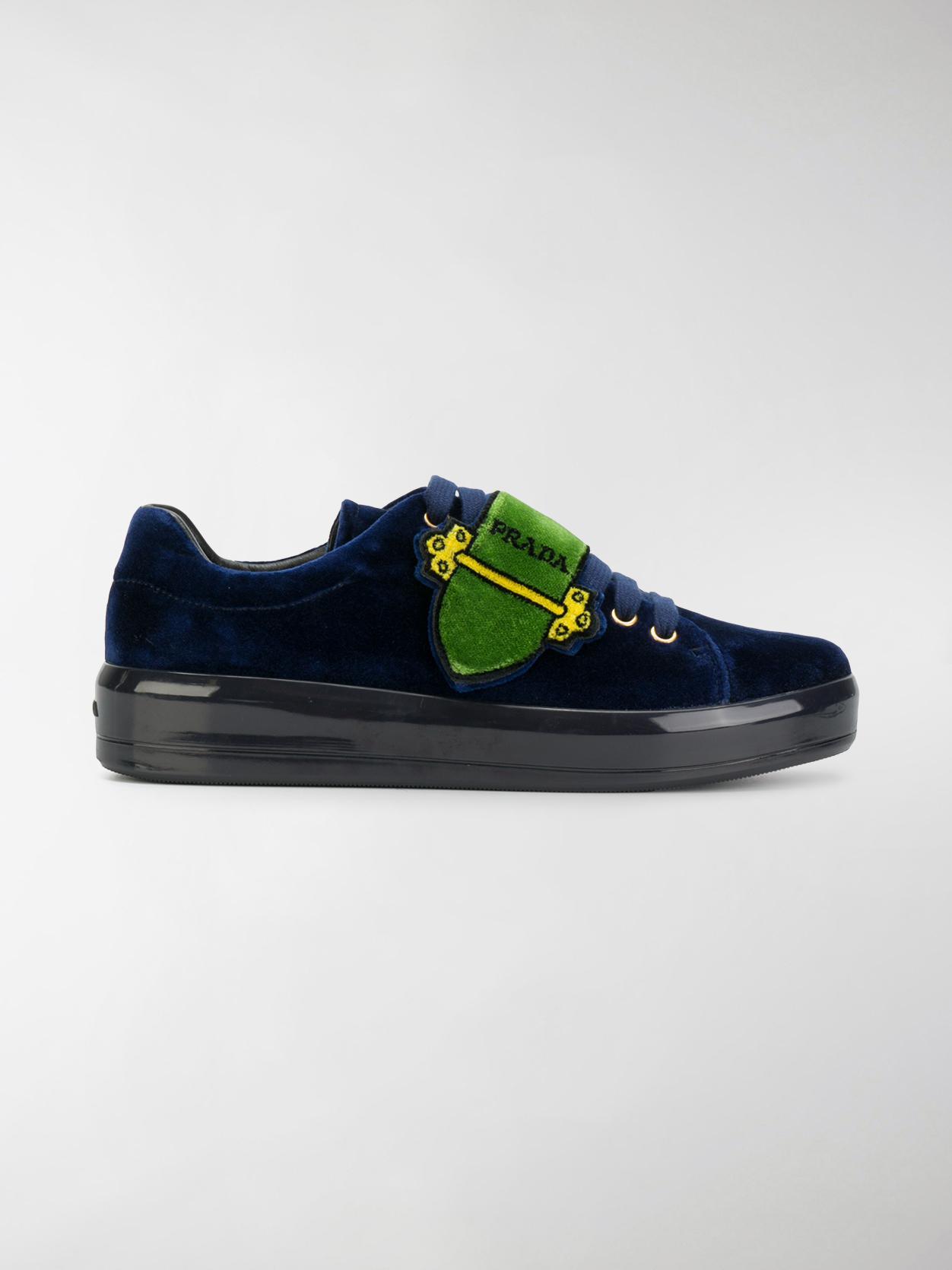 e5fc42d8d36 coupon lyst prada trompe loeil strap velvet sneakers in blue for men 0b524  51c1d