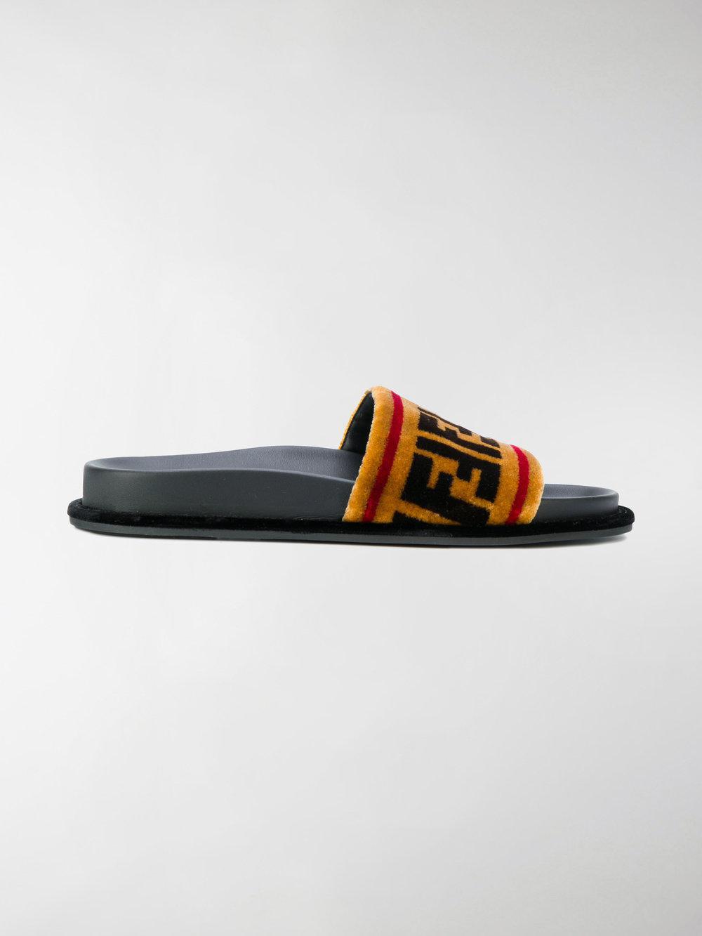 ed72cf986e Lyst - Fendi Ciabatte Con Logo Stampato in Brown for Men