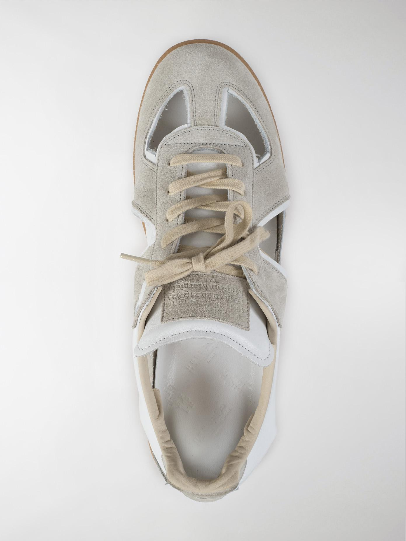 Maison Margiela Replica Cut Out Leather And Suede Sneakers in White