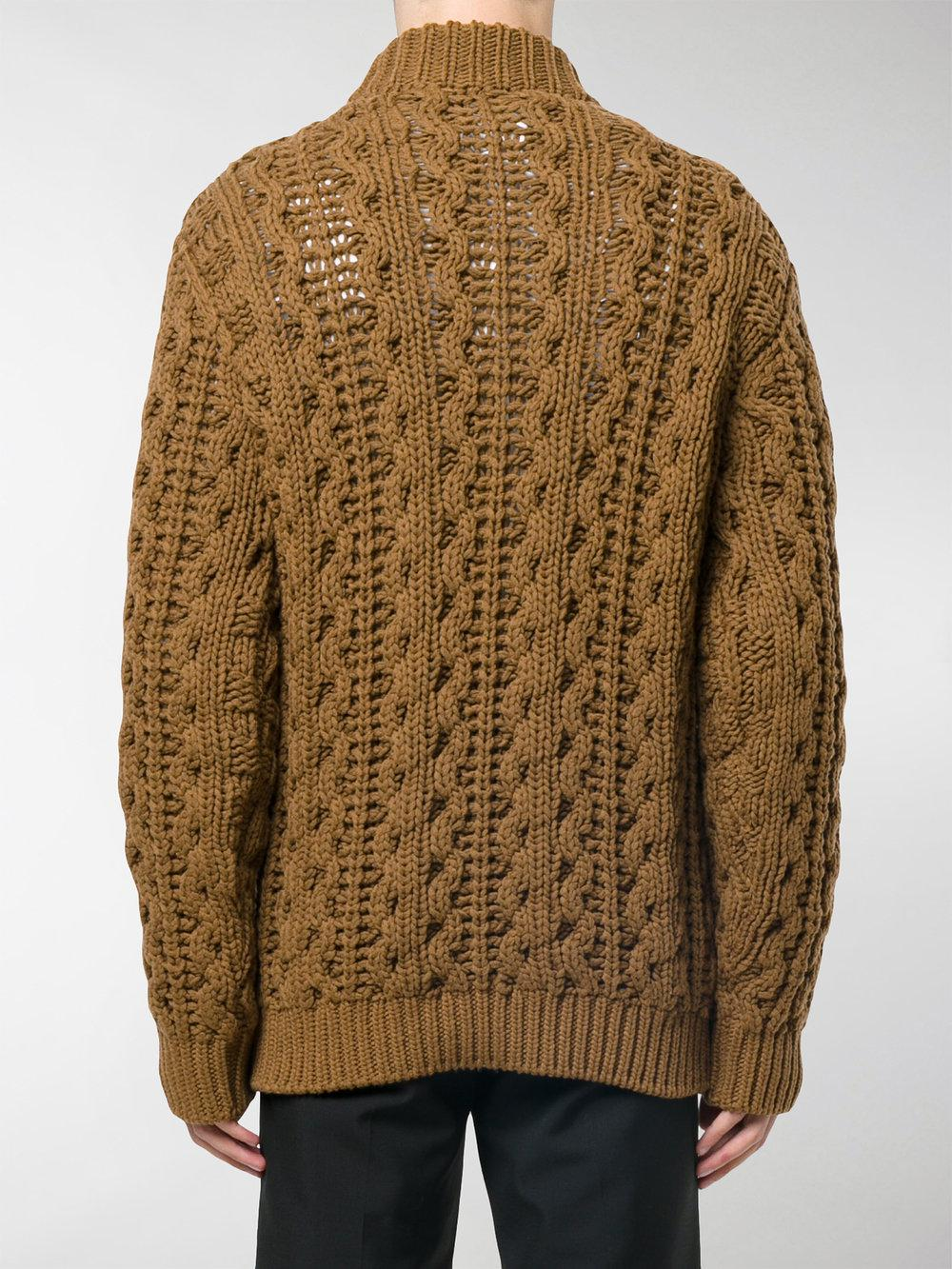 Ferragamo Wool Cable-knit Turtleneck Sweater in Brown for Men