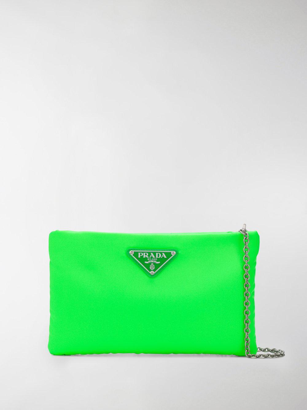 b0c43b24a4c7 Prada - Green Padded Nylon Clutch Bag - Lyst. View fullscreen
