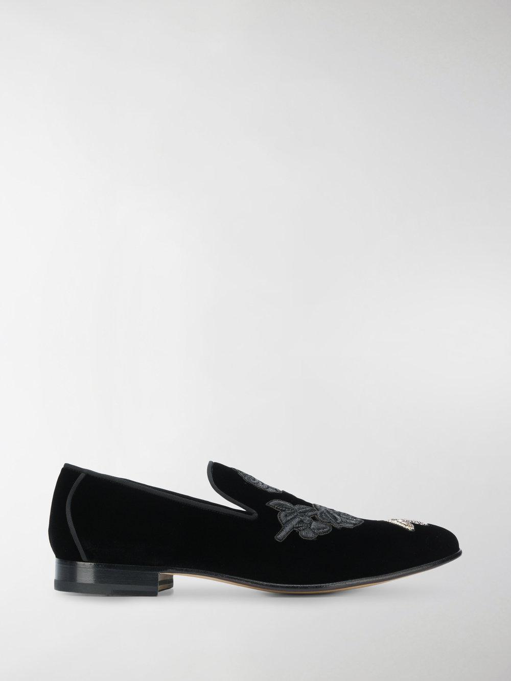 c7fa980ca5c Alexander Mcqueen Embroidered Slippers in Black for Men - Lyst
