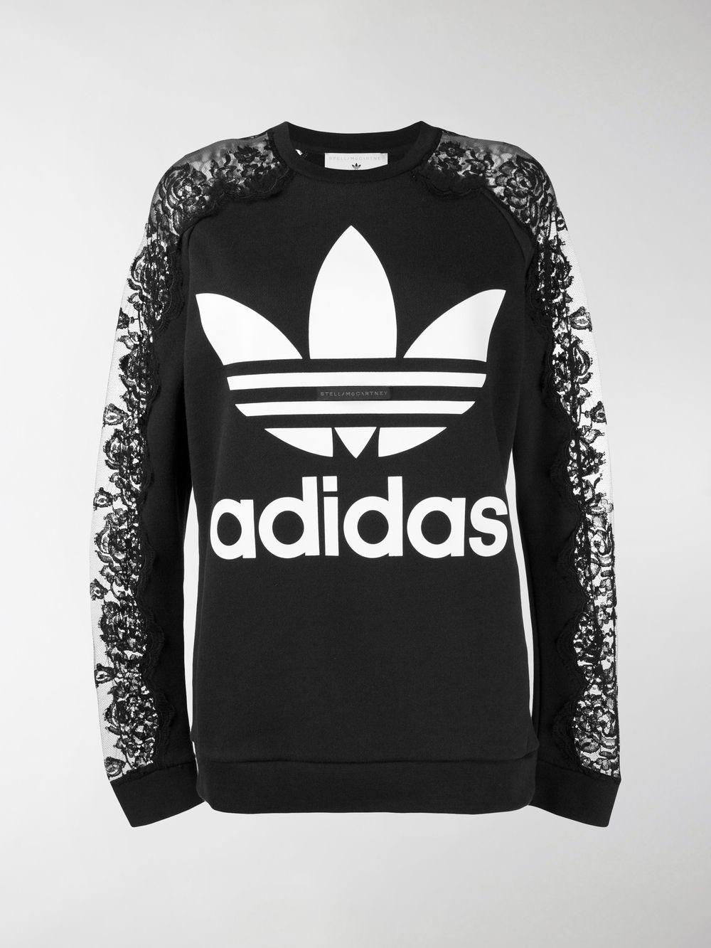 4c74f0650b Stella McCartney Adidas 3-stripe Lace Sweater in Black - Save 55% - Lyst