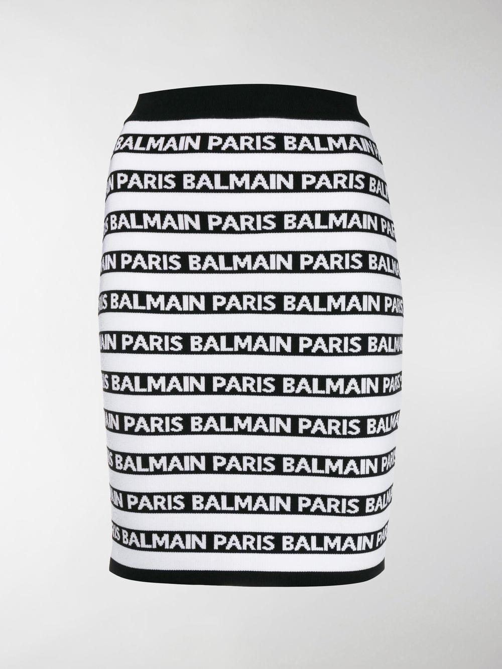 dcb55e4d2eb0 Balmain - Black Knit Logo Stripe Skirt - Lyst. View fullscreen