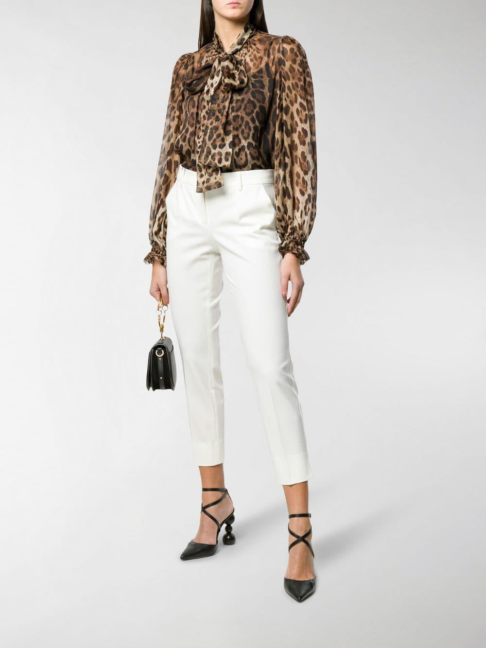 be168ac38d42 Lyst - Dolce & Gabbana Leopard-print Pussy Bow Blouse in Brown