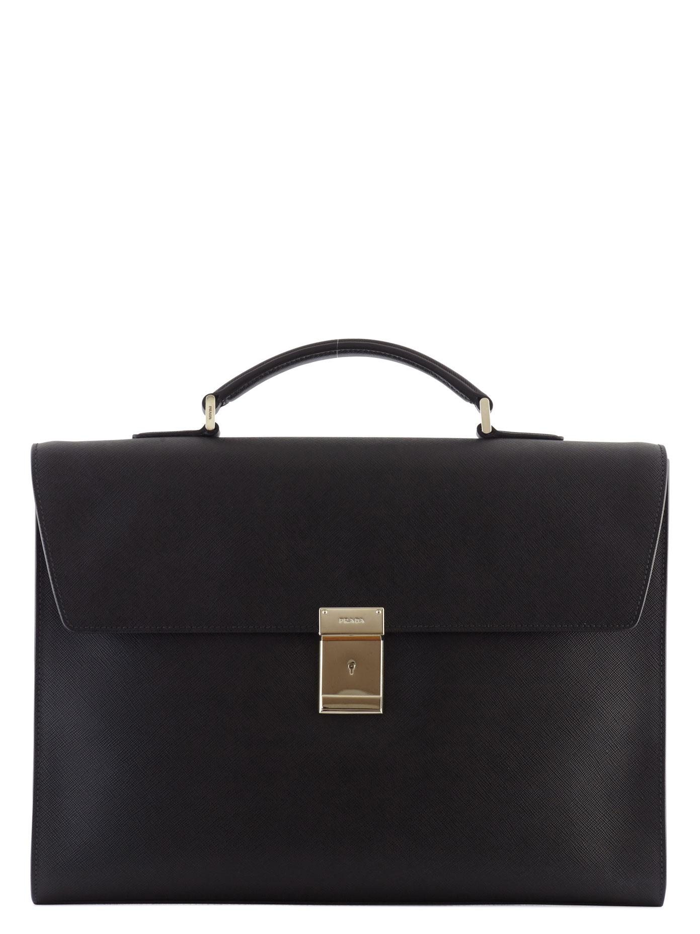 Prada Saffiano Leather Briefcase In Black For Men Lyst
