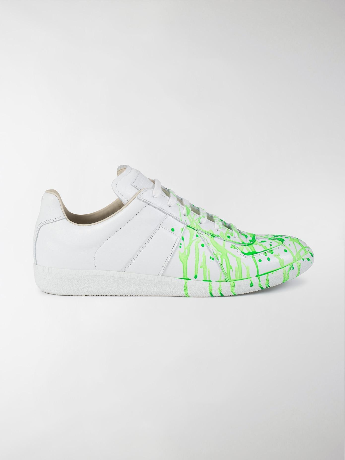 0f37cedc6e3 Maison Margiela Green Replica Paint Splatter Leather Sneakers for men