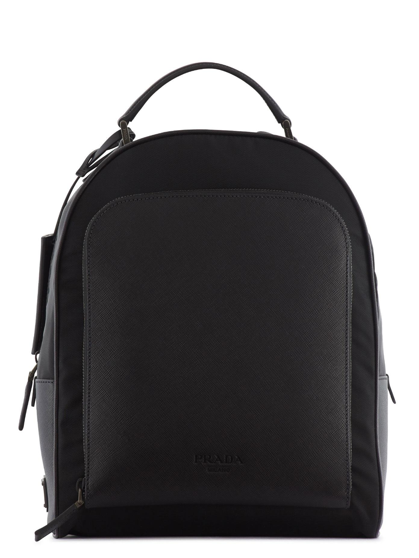 8991d02f7ea06a ... clearance prada leather and nylon backpack in black for men lyst db0ab  9f546