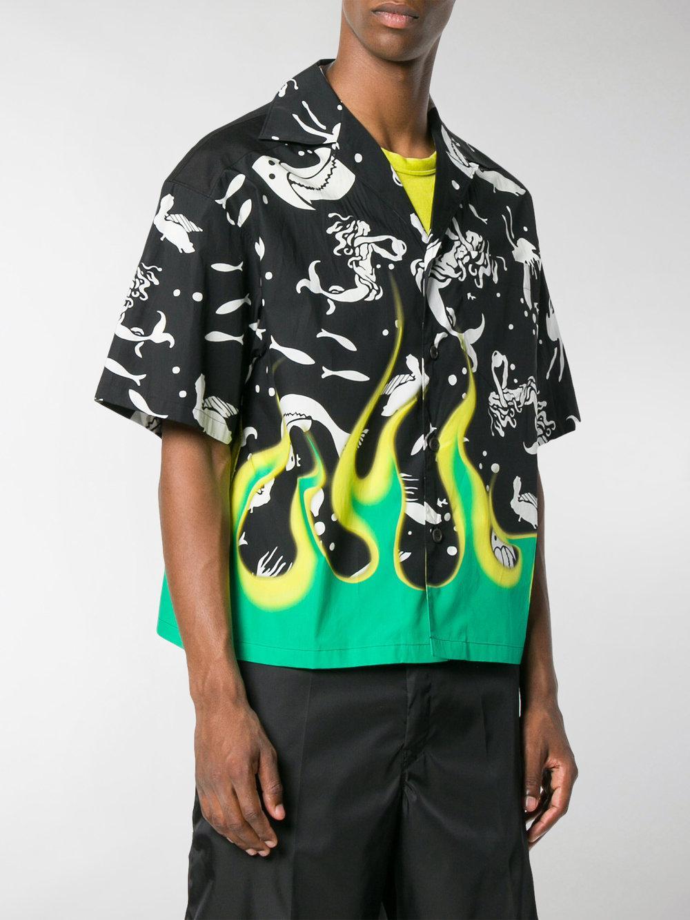 Prada Cotton Cuban Collar Mermaid Shirt in Black for Men