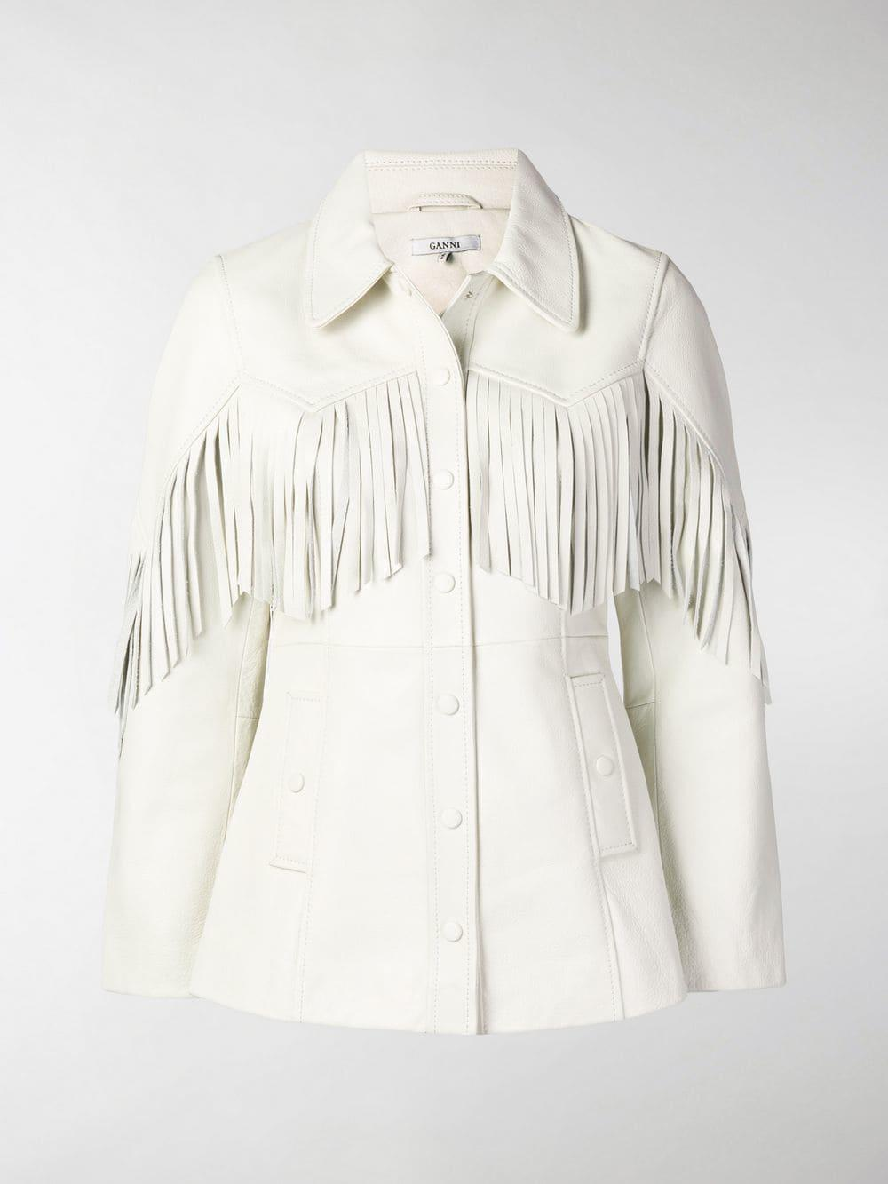 6b394dd1c35 Lyst - Ganni Fringed Leather Jacket in White - Save 19%