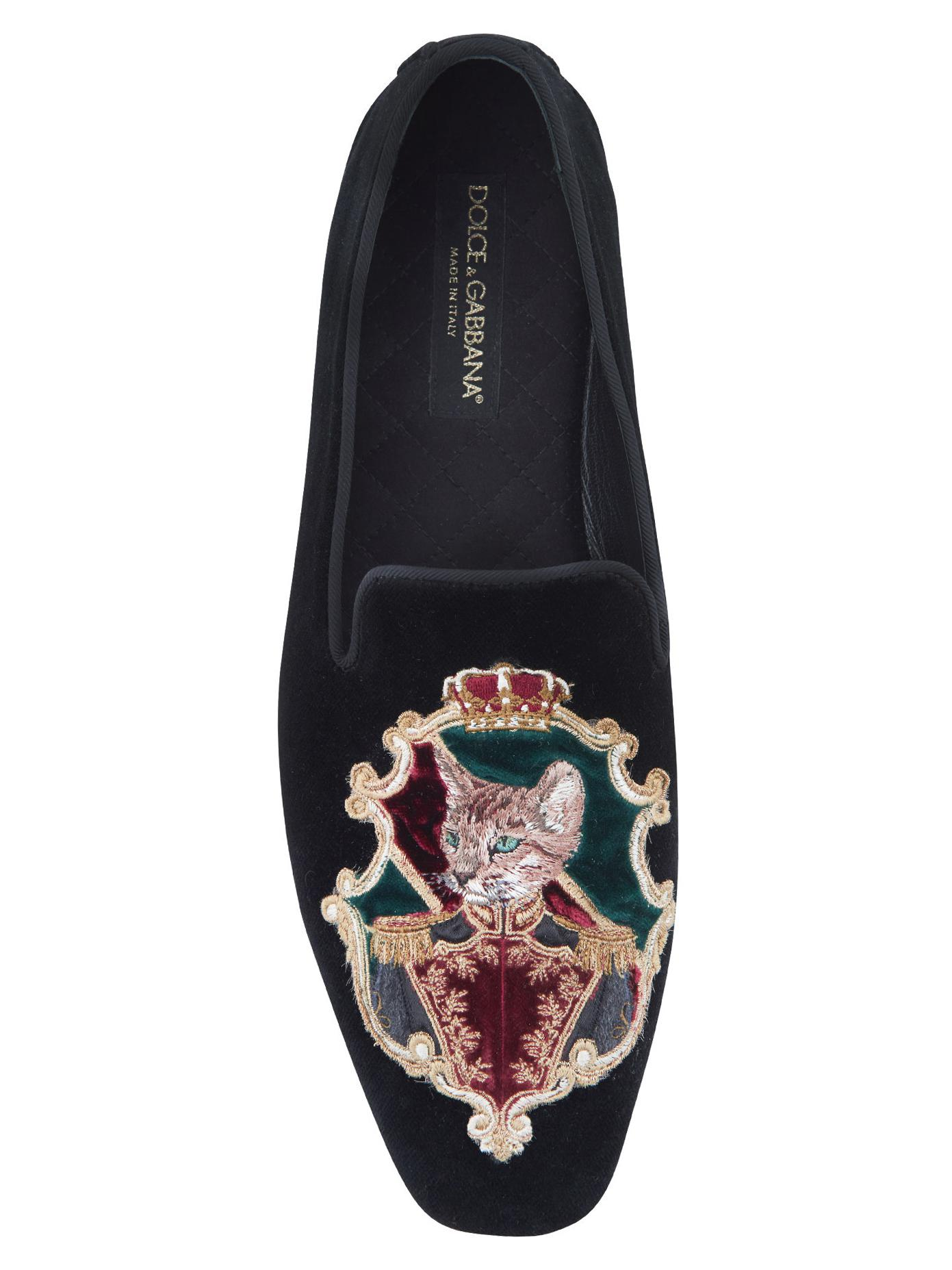 Dolce & Gabbana Embroidered Cat Velvet Slippers in Black for Men