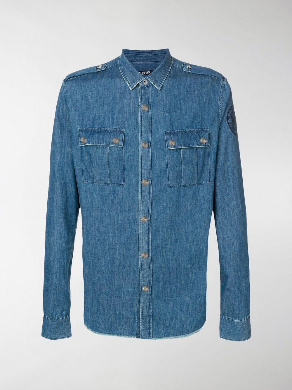 6006a93e Lyst - Balmain Classic Denim Shirt in Blue for Men