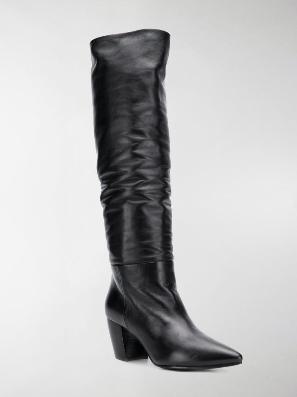 Prada Leather Crinkle-effect Knee-high Boots in Black