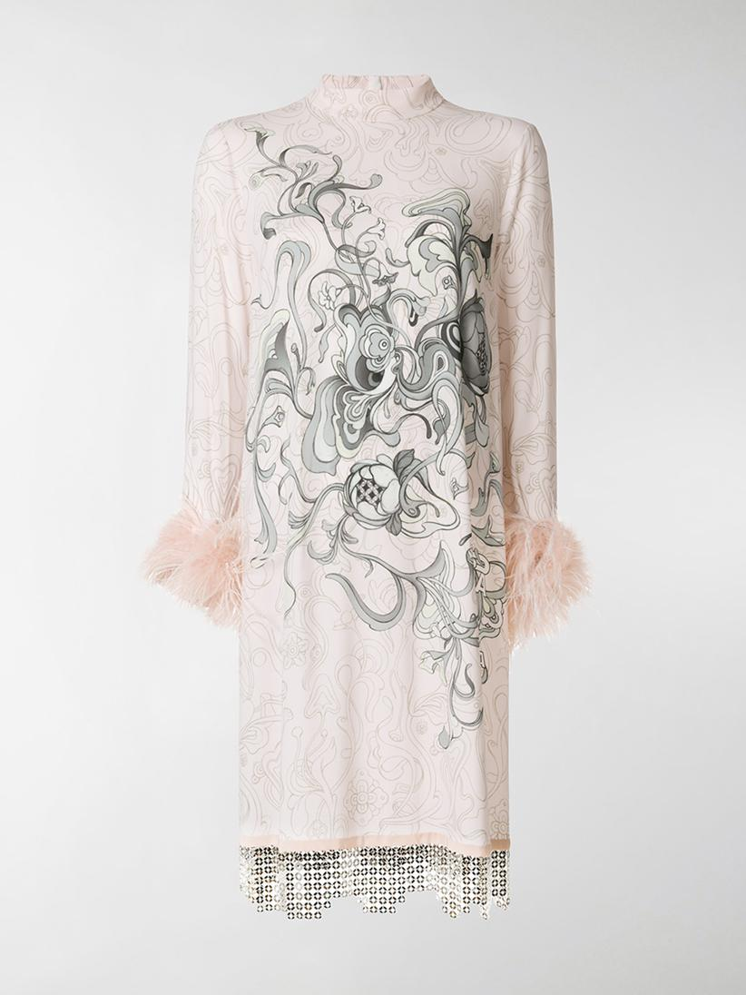 5612805a Lyst - Prada Printed Feather-cuff Dress in Pink