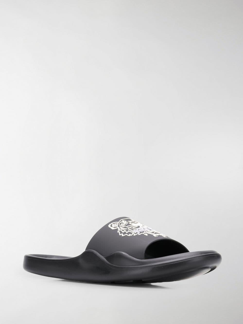 efc6f89a KENZO Tiger Logo Slides in Black for Men - Lyst