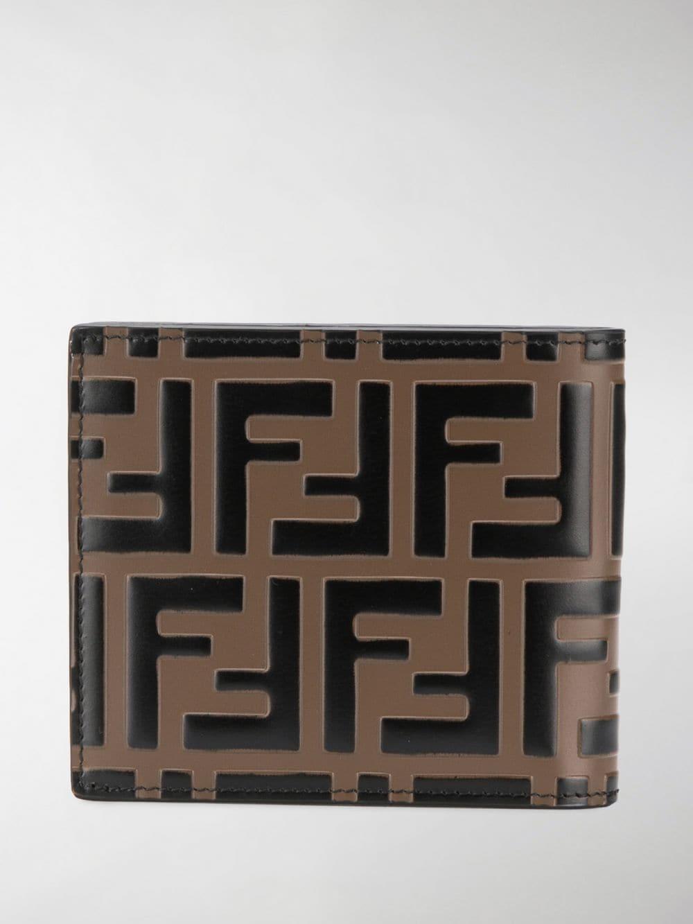 7720976d2a6 Fendi - Brown Logo-embossed Leather Billfold Wallet for Men - Lyst. View  fullscreen
