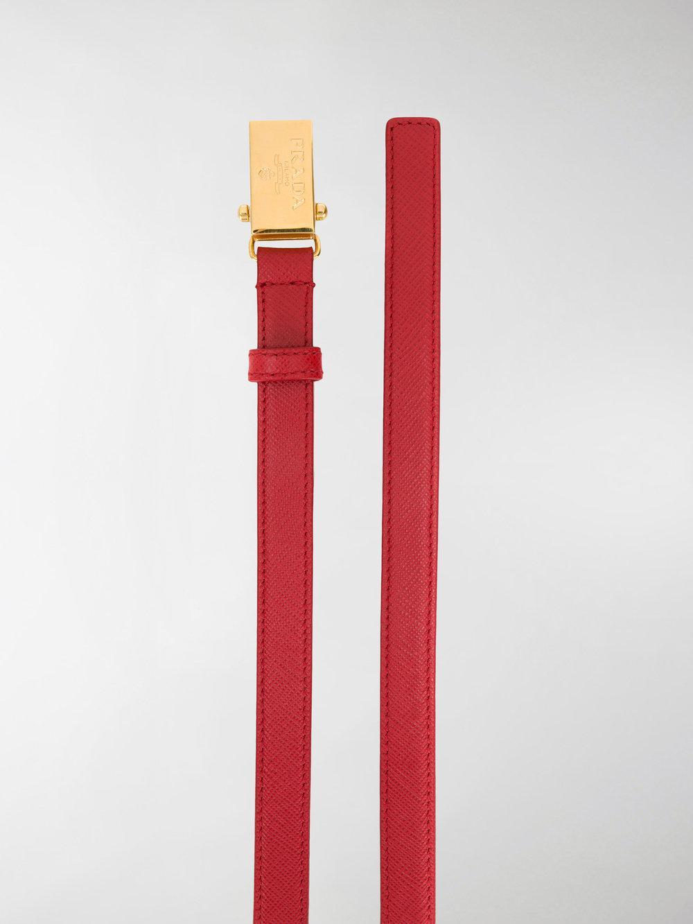 slim logo plaque belt - Red Prada 70RQinrm