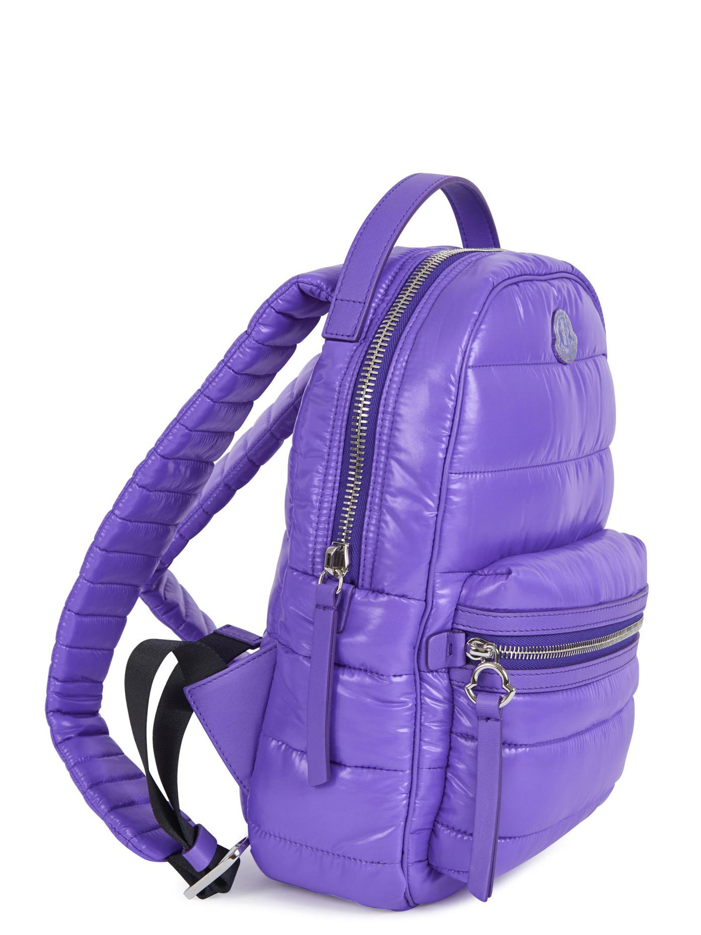 Moncler Synthetic Quilted Nylon Backpack in Purple