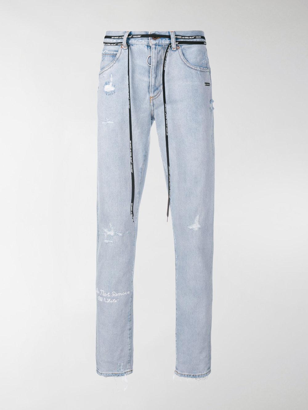 00ecc257 Off-White c/o Virgil Abloh Distressed Firetape Jeans in Blue for Men ...