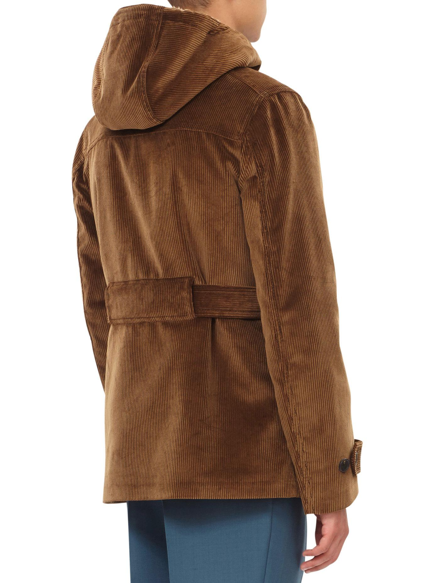Prada Hooded Corduroy Jacket in Brown for Men