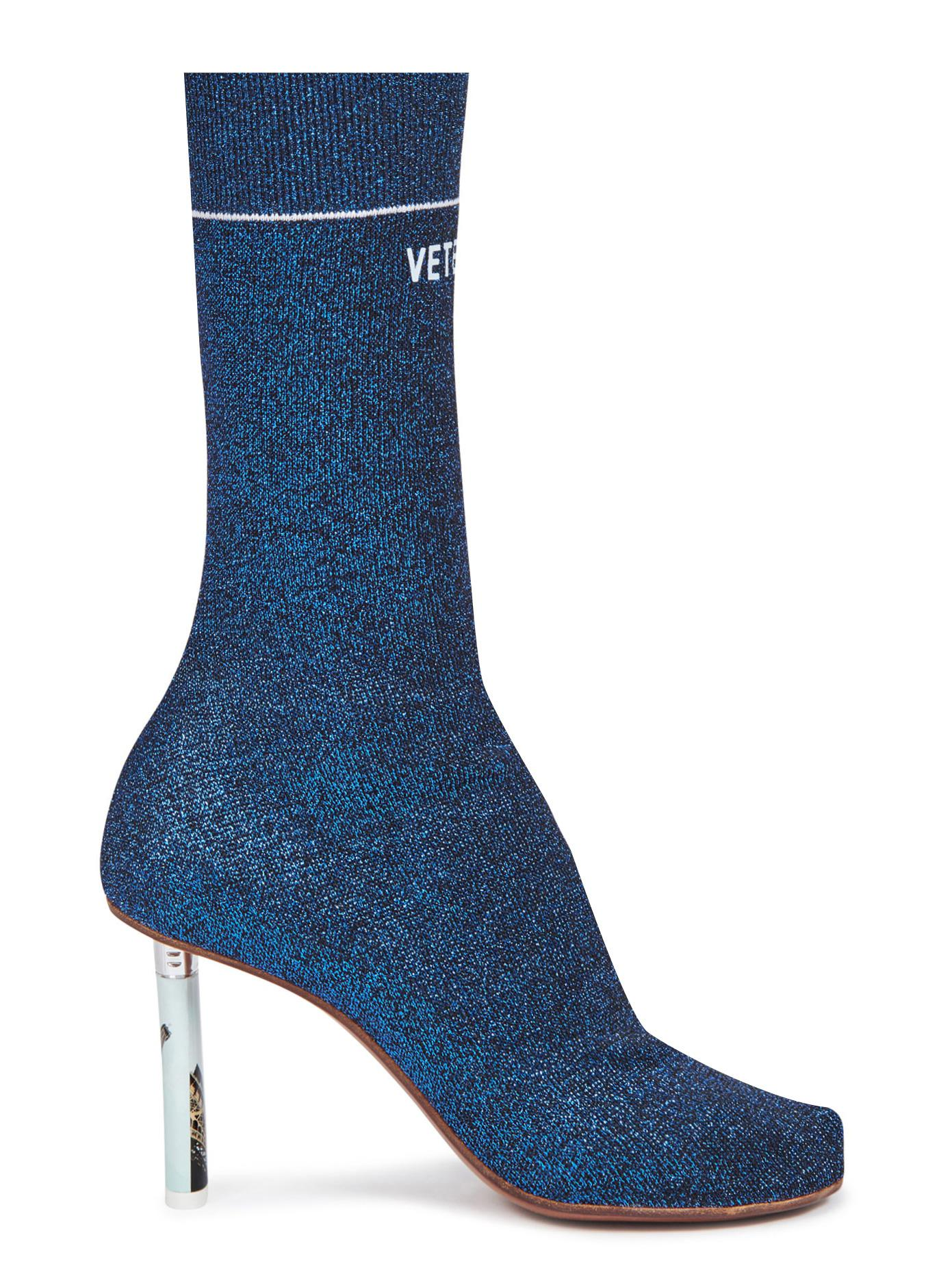 Vetements Cotton Lighter Heel Sock Ankle Boots In Blue Lyst