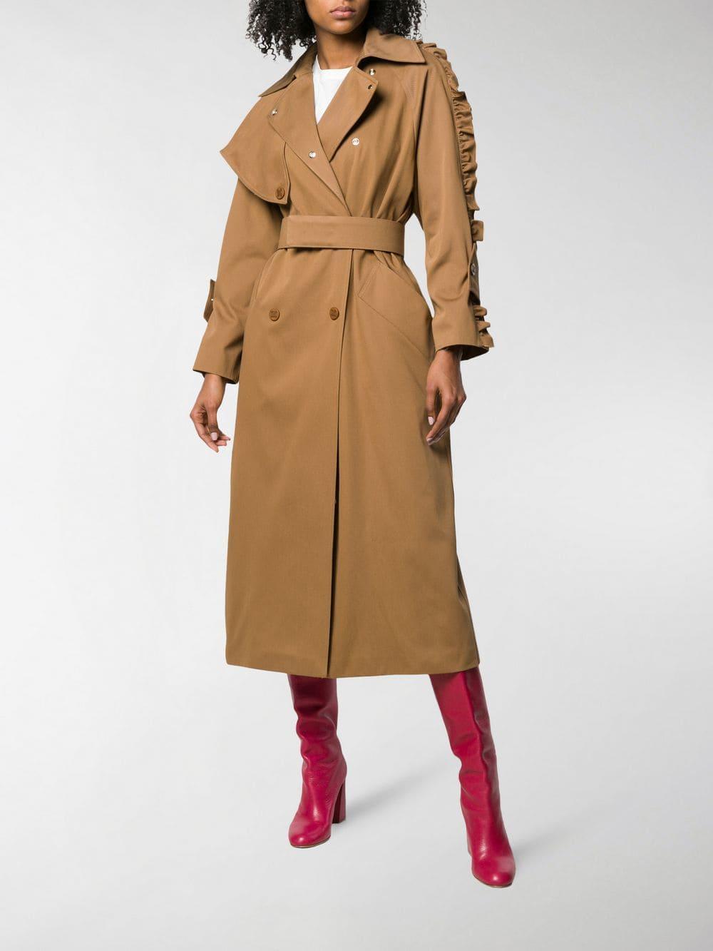 0522c1b69db Lyst - Max Mara Ruffle Sleeve Trench Coat in Brown