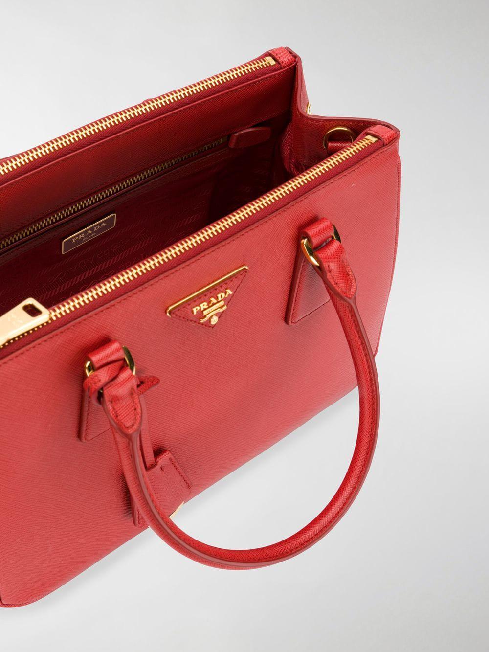 Prada Leather Mini Galleria Tote in Red