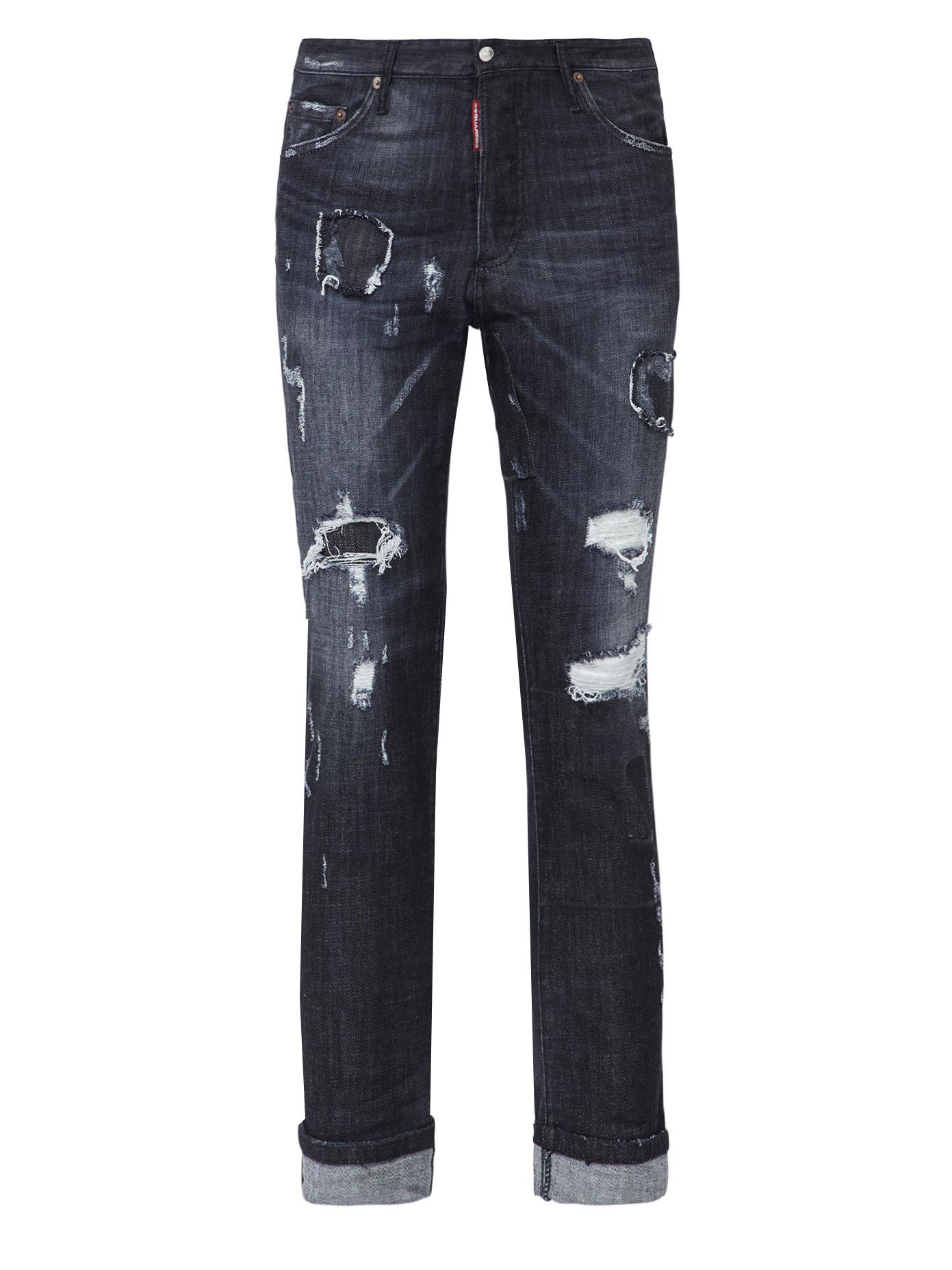 Dsquared² Distressed Rolled Cuff Jeans in Gray for Men