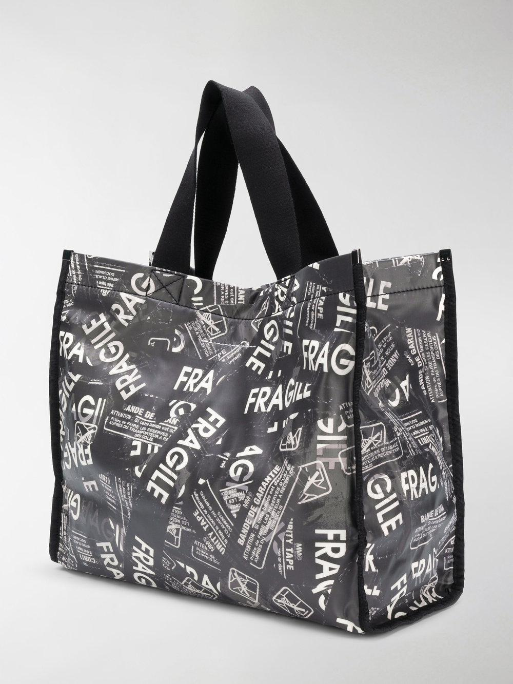 MM6 by Maison Martin Margiela Cotton Fragile Print Tote in Black