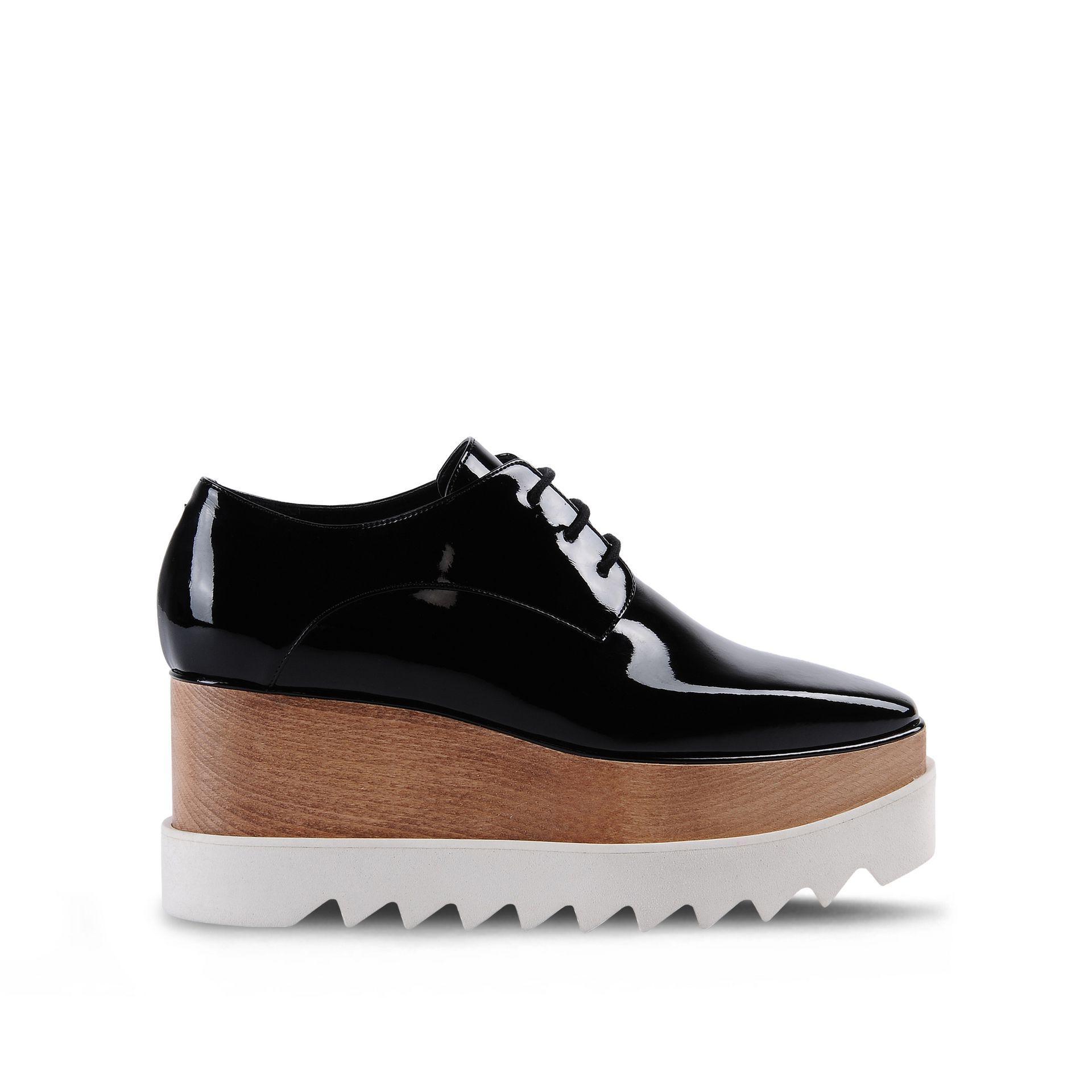Elyse Patent Platform Shoes in Black