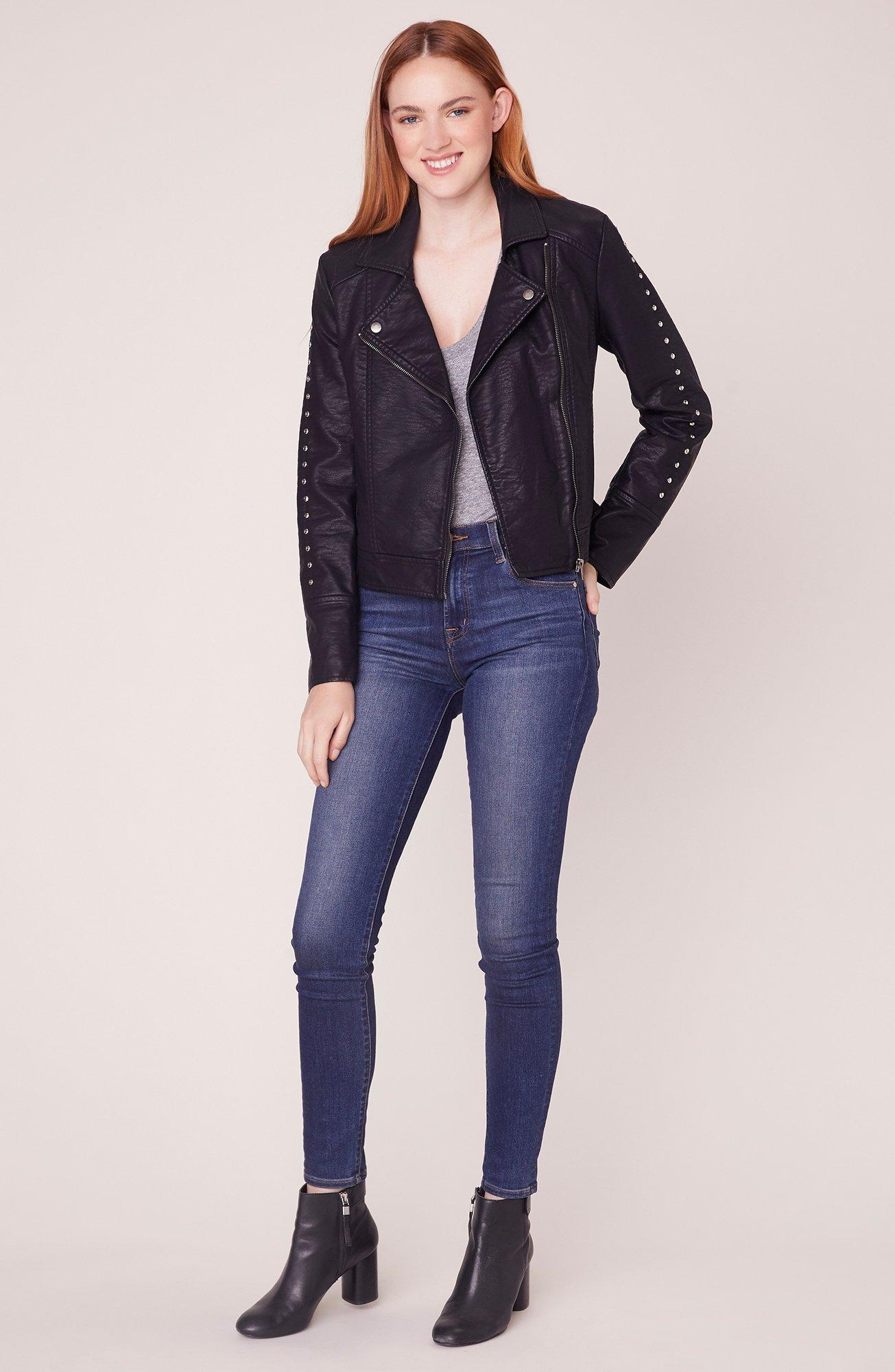 Jack Womens Muffin Ripple Vegan Leather Moto with Stud Details