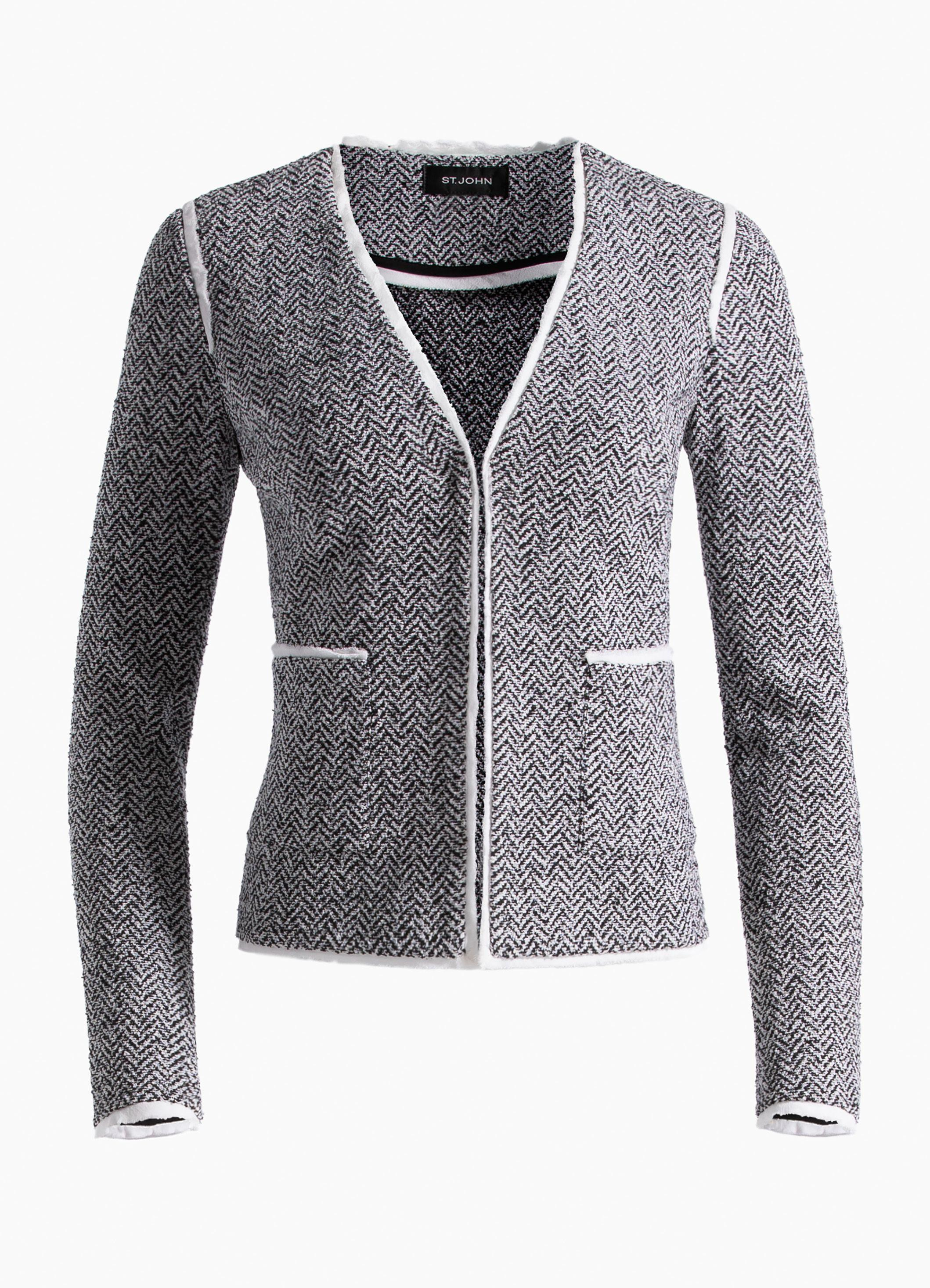 cf89f92b269 Lyst - St. John Abby Knit V-neck Jacket in Gray