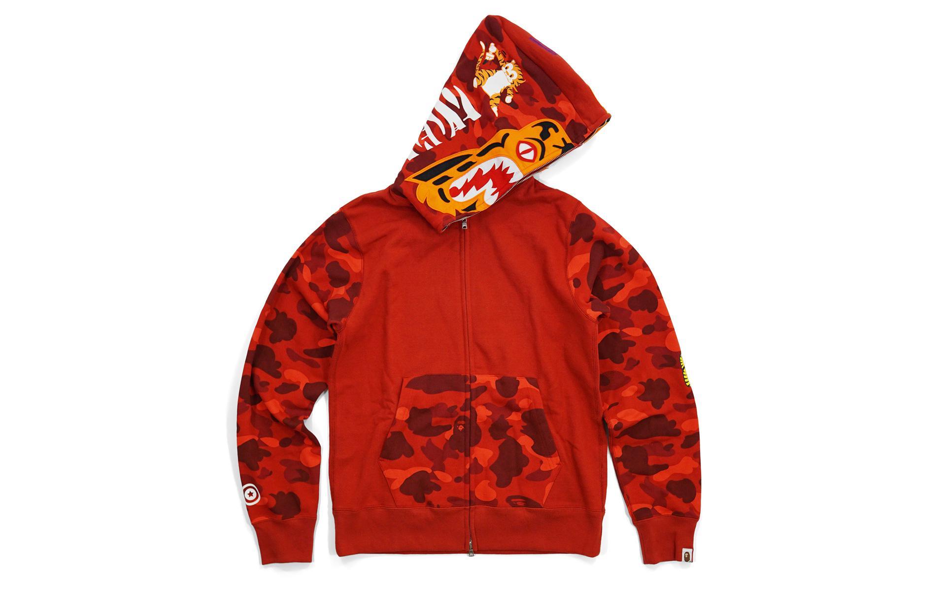 455d1d4d A Bathing Ape Color Camo Sleeve Tiger Red for men. View fullscreen