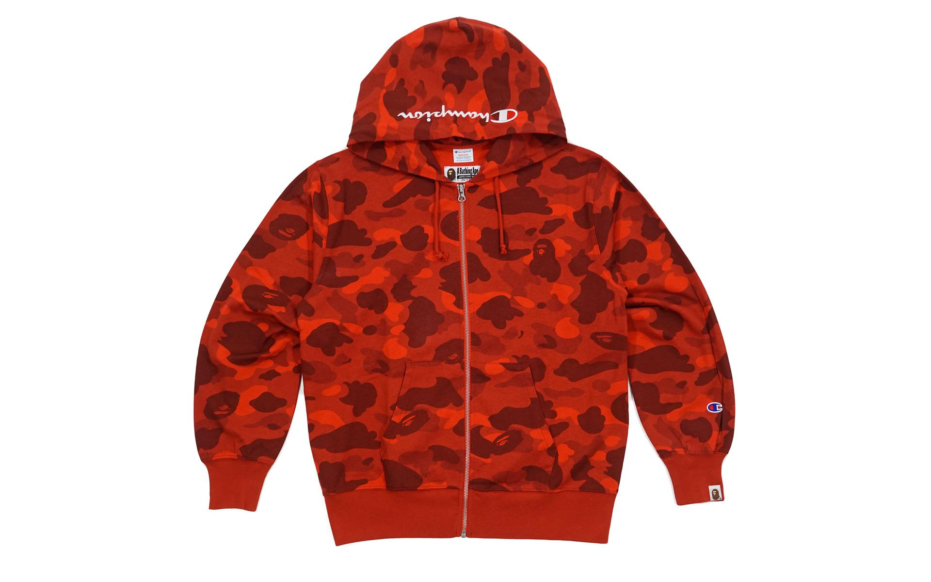 1fd48fdf A Bathing Ape Color Camo Champion Full Zip Hoodie Red in Red for Men ...