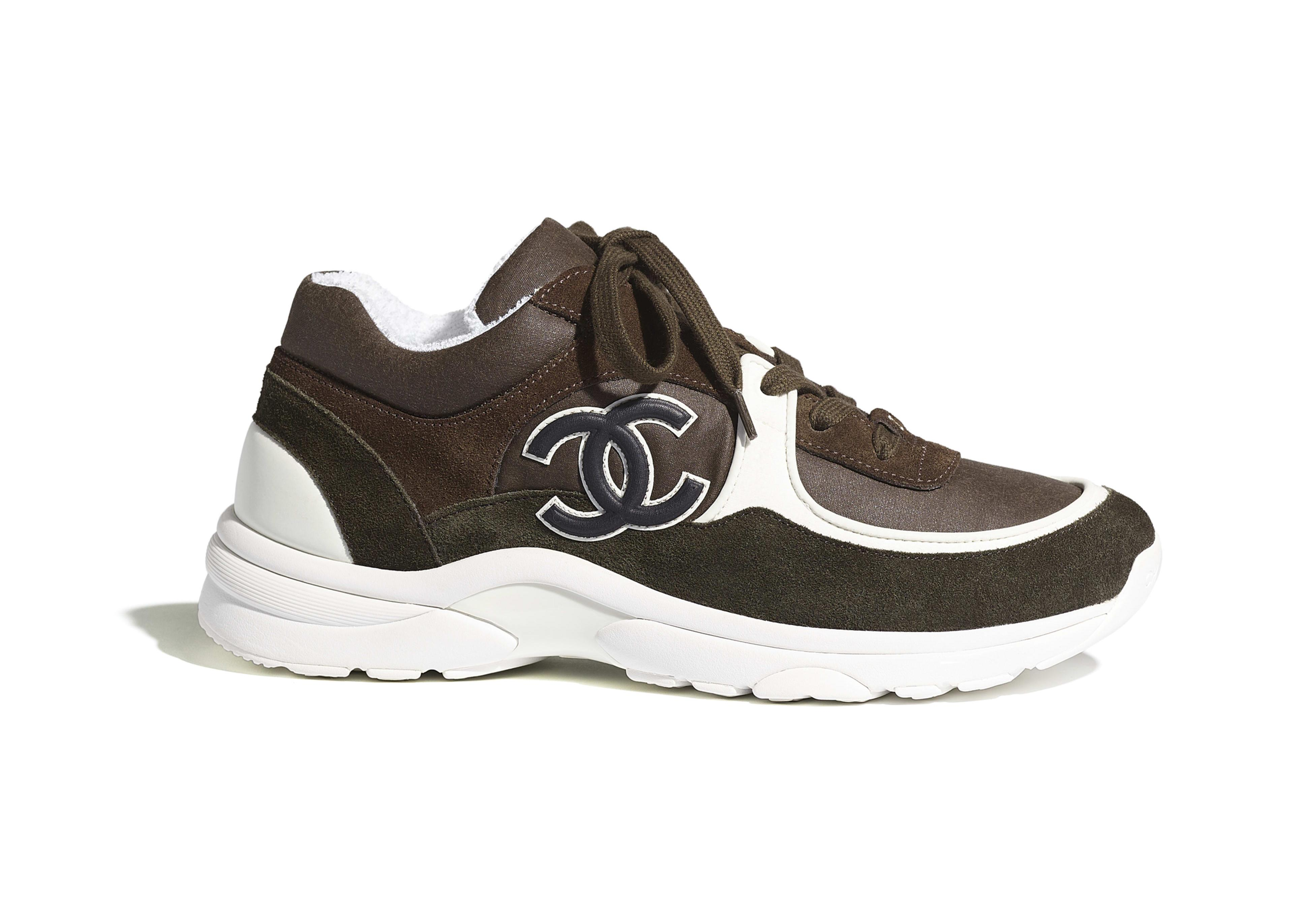 Chanel Low Top Trainer Brown Green - Lyst